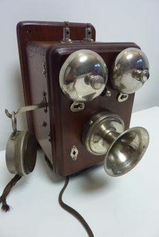 Wooden wall telephone with nickel bells,  Antwerp Telephone , early 1900s