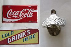 Coca Cola - Authentic old wall bottle opener from a pub and 2 advertising signs