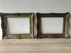 2 Antique gold plated and carved picture frames
