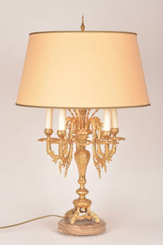 Gold plated bronze Bouillotte lamp, 20th century