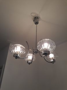 Art Deco chandelier - nickel-plated armature with 4 round glass-ribbed shades