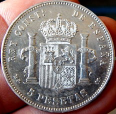 Spain - Alfonso XII - Silver coin of 5 pesetas - Years: 1890 * 18-90 MPM