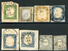 Sardinia 1855/1863 - small selection of 13 stamps from the 4th issue
