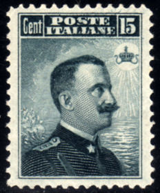 Kingdom of Italy, 1908 - Michetti 15 Cents - Indentation 12 - Sassone No. 80