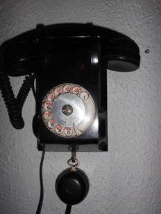 Old French Bakelite wall telephone with a possibility to listen in, beautiful decorative item, mid 20th century