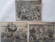 3 prints by an unknown artist (17th 18th century) - Seabattle scenes with monsters - ca early 18th century