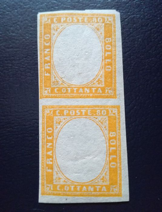 Sardinia, 1858/1862 - 80 cent Yellow-orange without printed portrait, vertical pair - Bolaffi no. 14B