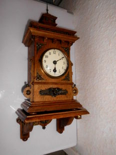 Lenzkirch mantel wall clock with console and pendulum movement – no striking mechanism – approx. 1890s