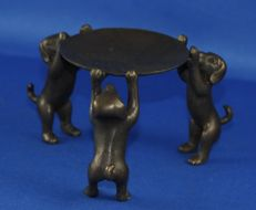 Bronze dish carried by 3 dog figures