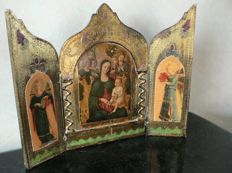 "Triptych ""Madonna and Child and two Angels"" - wood - Italy - 20th century"