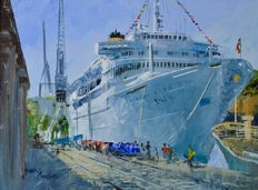 Harley Crossley (1936-2013) - The cruise ship M.V. Victoria alongside at Funchal