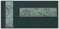Italy, Kingdom, 1865 – Horseshoe type 1 – Two used strips of 5 and 3 – Sass. No. 23.