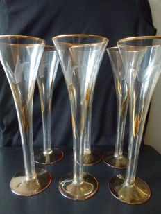 Six luxury crystal champagne glasses finished with 24 carat gold