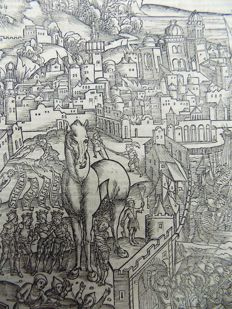Virgil folio - Incunabula leaf - Crespinger Edn - Aeneid - The Trojan Horse; The defeat of Troy - 1529
