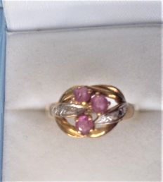 18 ct  Gold Diamond &  Amethyst Set Ring