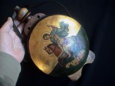 Rare large size antique pilgrim flask with Tempera Iconography at 2 sides - Soldier saint Demetrius/Mother of God - ca. 1900