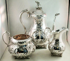 Victorian Coffee set with eagle - silverplated