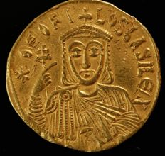Byzantine Empire - Theophilus, 829-842 AD, with Constantinus and Michael III. Gold Solidus 831/840 AD, Constantinopolis.