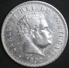 Portugal Monarchy - D. Carlos I - 500 Reis 1892 (2 Over 1) - Amended Date - Silver