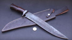 Handmade damask knife - very long (44.2 cm) and sturdy knife (540 grams) - handle from rosewood - with leather sheath
