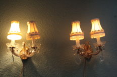 Antique crystal wall lights ca 1950