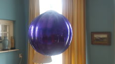 Large antique old blown glass ball,coloured blue/purple