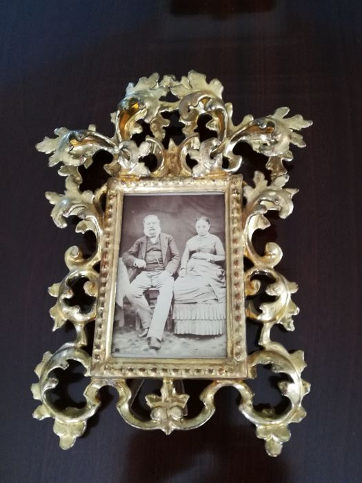 0321295f6d8 Original gold-plated wooden carved painting frame as photo frame - possibly  18th century -