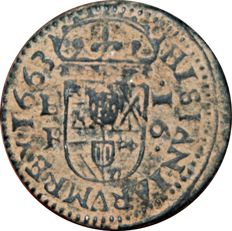 Spain. 16 Philip IV maravedis. King of Spain (1621-1665). Struck in Burgos in 1663.