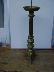 Heavy copper candlestick