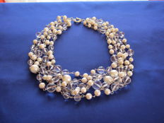 Rhinestone, pearl, and silver necklace