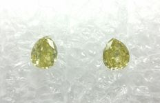 Couple of 2 Pear cut diamonds total 0.26 ct Fancy Intense Greenish Yellow SI   -No Reserve