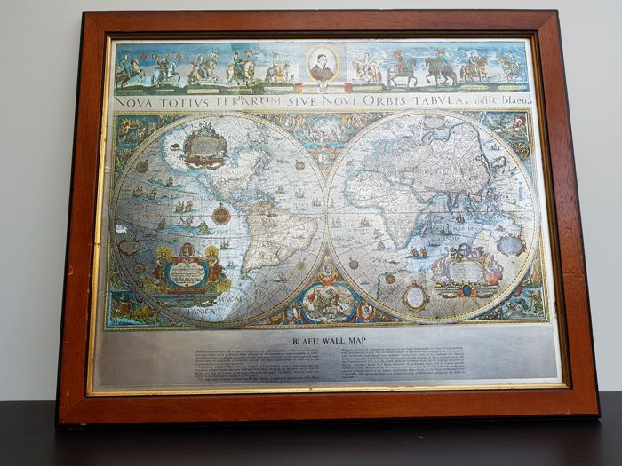 Vintage framed blaeu wall on silver foil the map of the old and vintage framed blaeu wall on silver foil the map of the old and gumiabroncs Choice Image
