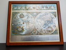 "Vintage framed ""Blaeu Wall"" on silver foil - The Map of the Old and New World"