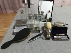 Bottles and accessories of barber