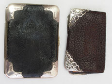 Early Edwardian Silver & Leather Purse & Wallet Hallmark Fred Taylor c. 1903