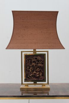 Unknown producer - Table lamp with carved woodwork