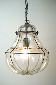 Large pear-shaped Venetian hanging lamp - blown glass in a metal frame - 38 cm, second half 20th century, Italy
