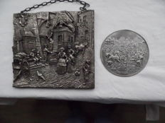 MK - silver plated plaque - and stone relief