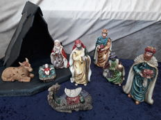 Nativity scene with holy figures