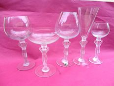 Bayel France - 5 glasses: matted foot with clear chalice