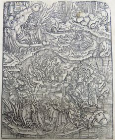 Virgil folio - Incunabula leaf - Crespinger Edn - Aeneid - Death, Underworld, Jaws of Hell, Field of Mourning - 1529