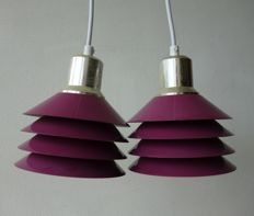 Unknown designer for Design Light Denmark - pair of purple metal Siam disc hang lamps.