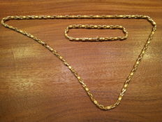 Jewellery set in 18 kt yellow gold Length: 60/20 cm