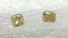 Couple of 2 Cushion cut diamonds total 0.67 ct F.V. Greenish Yellow / Brownish Yellow SI2   -No Reserve