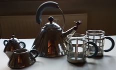 Alessi kettle, sugar bowl and milk jug, 2 large mugs, design Michael Graves