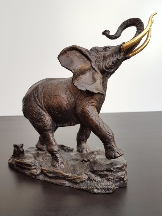 Giant of The Serengeti - Bronze Elephant with 24kt gold