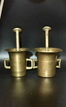 Two 19th century Antique Bronze Mortar & Pestle