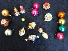 18 Old baubles and figurines - including a three-master, clocks.