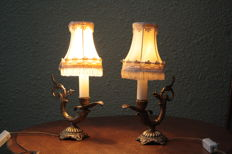 Lot with 3 antique French copper / brass lamps, late 18th/early 19th century