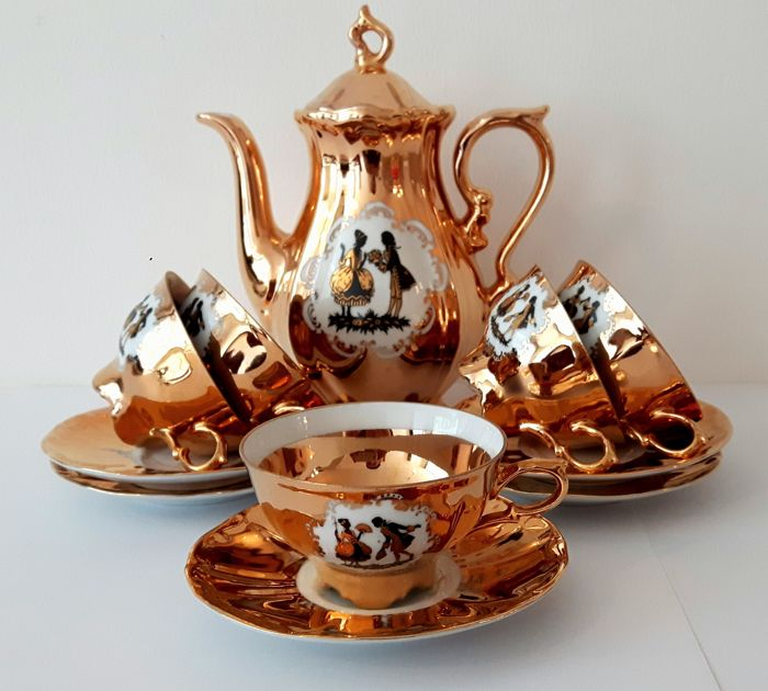Bavaria Schaller Wiesau - 12-piece mocha crockery set gold plated : bavaria gold plated tea set - pezcame.com
